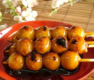 Mitarashi Dango -- Japanese Sweets! Skewered Mochi Dumpling with Sweet Soy Sauce Glaze みたらし団子
