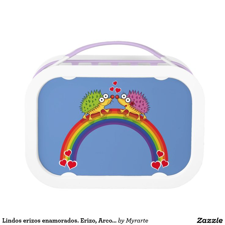 Lindos erizos enamorados. Erizo, Arcoiris. Producto disponible en tienda Zazzle. Product available in Zazzle store. Regalos, Gifts. Link to product: http://www.zazzle.com/lindos_erizos_enamorados_erizo_arcoiris_lunch_box-256649141530522569?CMPN=shareicon&lang=en&social=true&rf=238167879144476949 Día de los enamorados, amor. Valentine's Day, love. #ValentinesDay #SanValentin #love #lonchera #LunchBox #erizo #hedgehog