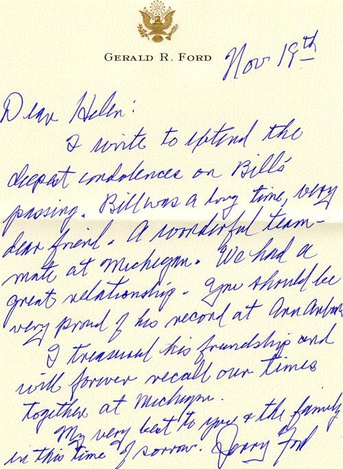 Gerarld Ford Condolence Letter to My Grandfather William Borgmann - condolence letter sample