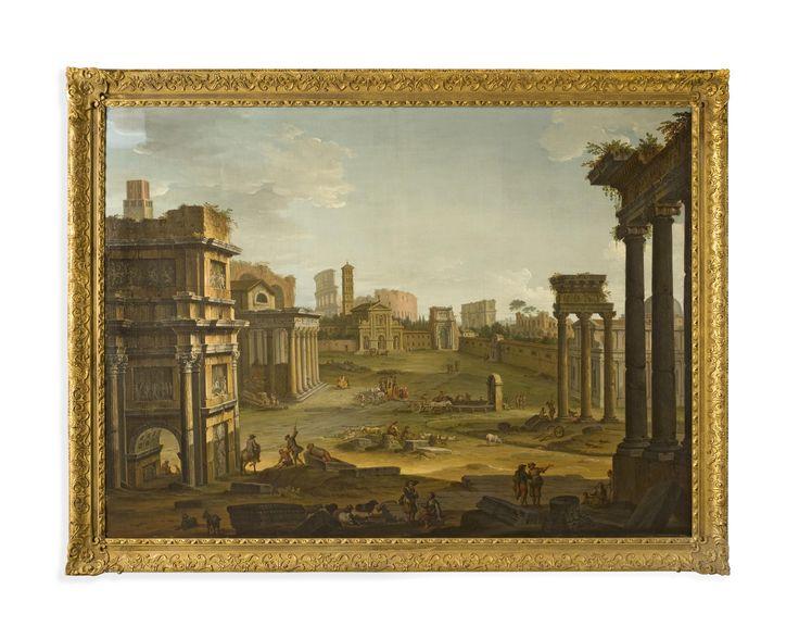 Antonio Joli (Modena 1700-1777 Naples) Veduta of Campo Vaccino in Rome (The Roman Forum) Oil on canvas