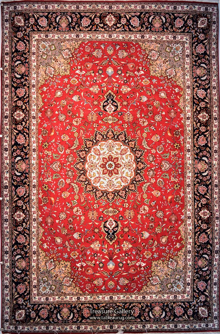 Tabriz Wool Persian Rug | Exclusive collection of rugs and tableau rugs - Treasure Gallery   Tabriz Wool Persian Rug You pay: $4,400.00 Retail Price: $11,500.00 You Save: 62% ($7,100.00) Item#: 135 Category: Medium(6x9-8x11) Persian Rugs Design: Javadghalam Size: 200 x 310 (cm)      6' 6 x 10' 2 (ft) Origin: Persian, Tabriz Foundation: Wool Material: Wool & Silk Weave: 100% Hand Woven Age: Brand New KPSI: 400