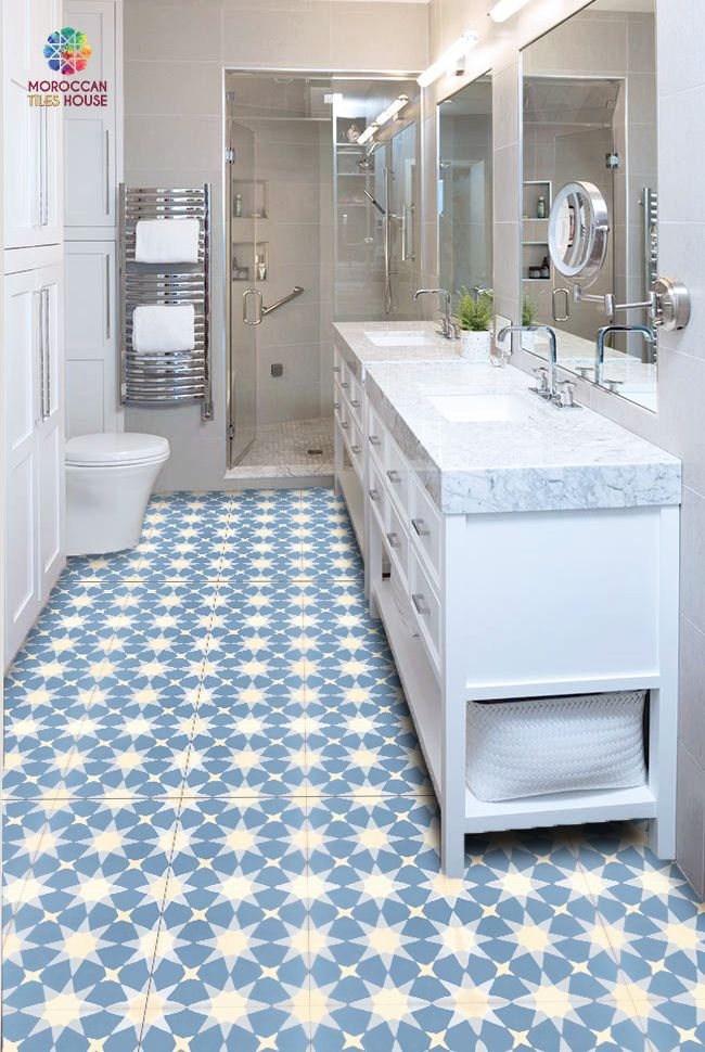 A Bathroom Made With Cement Tiles Is Our Newest Work With