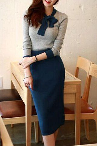 Elegant Women's Bow Collar Color Block Long Sleeve Sweater and Knitted Skirt Twinset