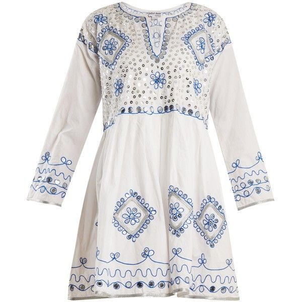 Juliet Dunn Sequin-embellished embroidered cotton dress (725 BRL) ❤ liked on Polyvore featuring dresses, white multi, white bohemian dress, white boho dress, white flare dress, bohemian dresses and white long sleeve dress