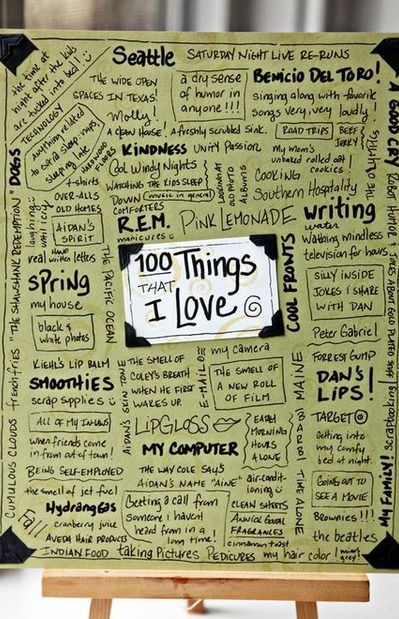 100 things i love journal page - Would be a nice positive reminder to have on the wall.