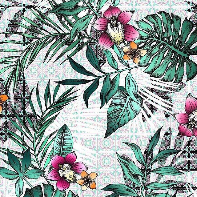 Fragment of my new tropical pattern exclusivelly for @patternbank