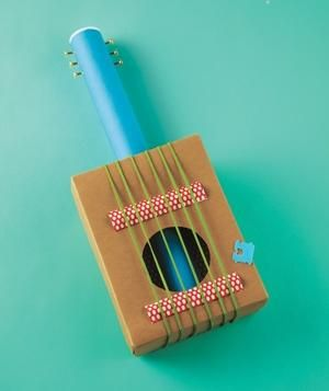 Shoe-Box Guitar   Fun projects that will entertain kids long after craft time. (Sorry, Mr. Sock Puppet.)