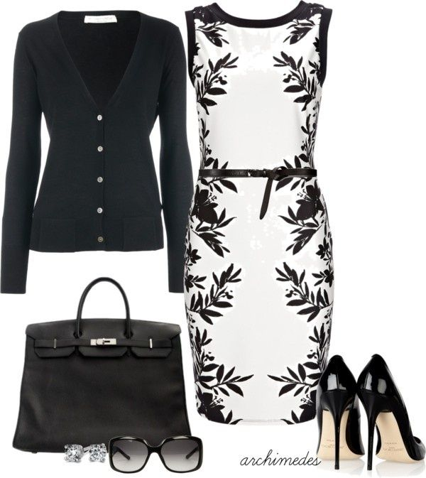 """polyvore dresses in black and white   Black and White"""" by archimedes16 on Polyvore -- gorgeous dress!"""