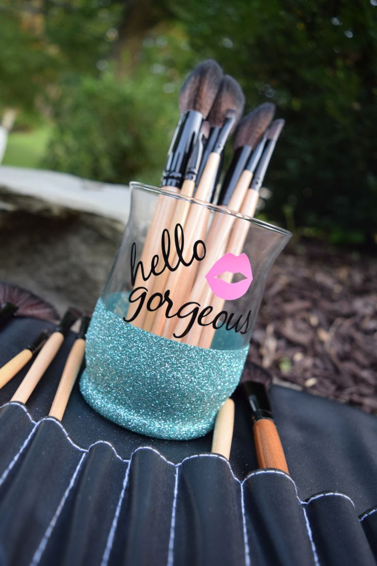 Makeup Brush Holder, Glitter Dipped, Makeup Brush Holders, Hello Gorgeous, Makeup Brush Storage, Makeup Organizer, Makeup Brush Organizer by APolkaDotShop on Etsy https://www.etsy.com/listing/465598551/makeup-brush-holder-glitter-dipped