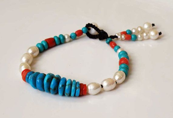 Turquoise gemstone bracelet with Coral and by DancingLotusDesigns, kr700.00