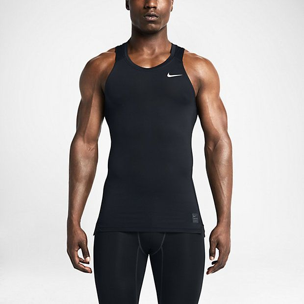 9d126546a81e Nike Pro Cool Mens Fitted Compression Tank Top Dri-Fit Black Large Lock It  In  NIKE  TankTop