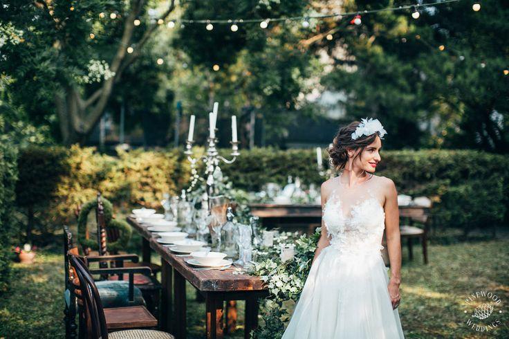 Fairytale garden gathering / Nora Sarman Bridal / Kata is wearing a custom made wedding gown / photo Pinewood Weddings