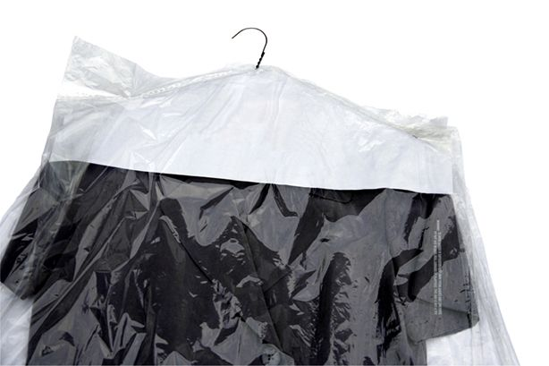 Dry-cleaning bags, made of hard-to-recycle plastic film, are best avoided.