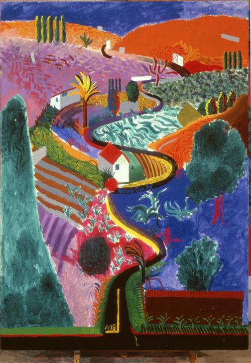 """David Hockney - """"Nichols Canyon"""" - 1980 - acrylic - UK."""