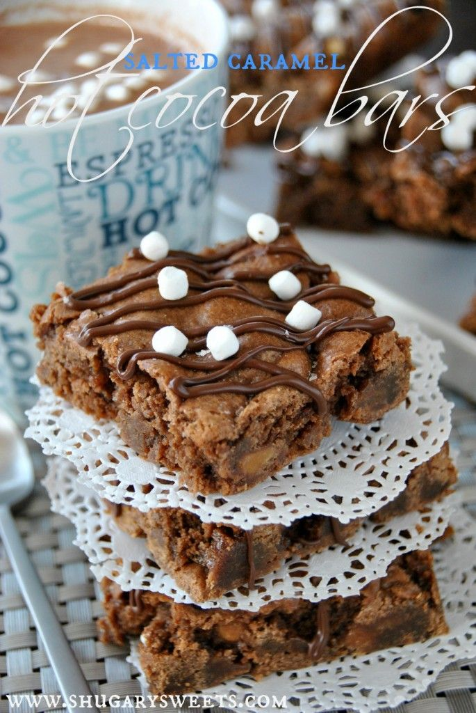 Salted Caramel Hot Cocoa Bars- rich and chewy fudge brownies filled with caramel, chocolate and marshmallows. #saltedcaramel #hotchocolate www.shugarysweets.com #chocolates #sweet #yummy #delicious #food #chocolaterecipes #choco
