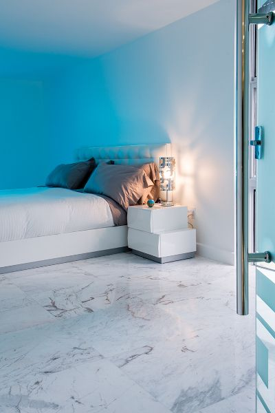 White Himalaya Spider Marble Bedroom Flooring Miami Beach Residence Marmol Our Residential