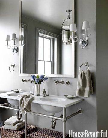 Gray Bathroom, huge mirror & sconces