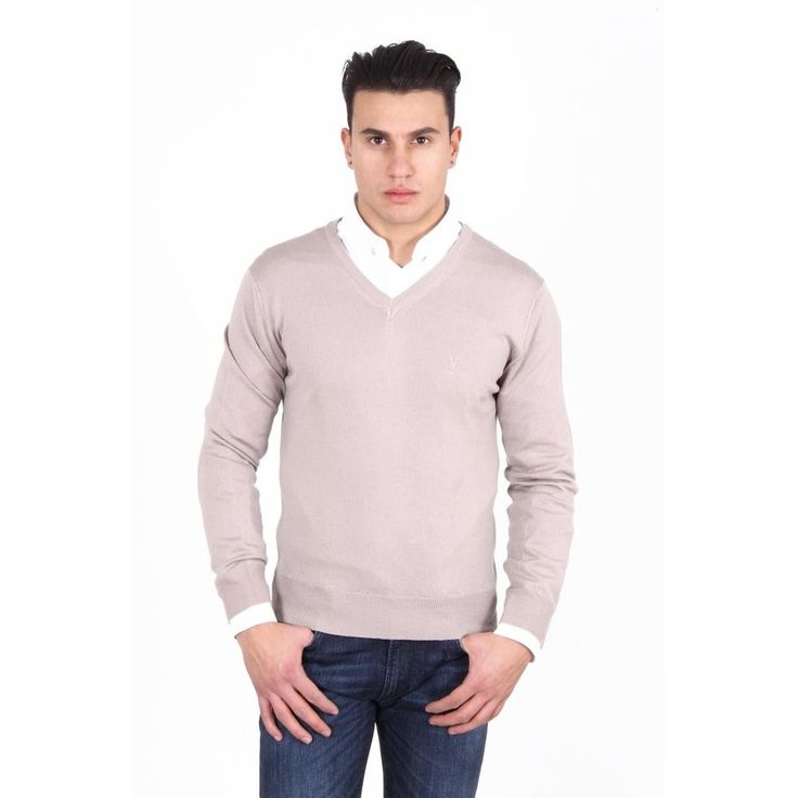 Beige S Versace 19.69 Abbigliamento Sportivo Milano mens V neck sweater 9801 SCOLLO V SABBIA