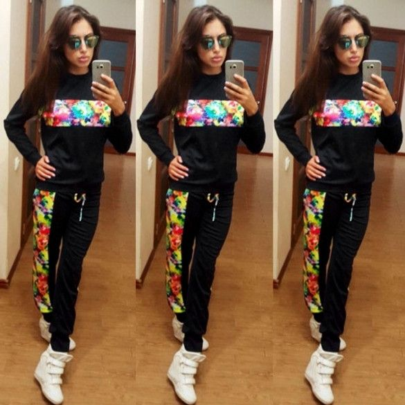 Ladies Women Casual Leisure Set Floral Patchwork Splicing Thin Sports Running Suit Long Sleeve Top + Straight Pants Trousers
