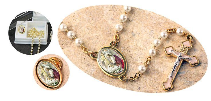First communion girl rosary wpin communion jewelry