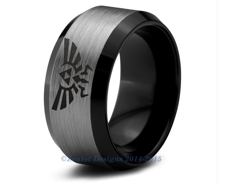 Legend of Zelda Tungsten Wedding Band Ring Mens Womens Beveled Edge Brushed Black Fanatic Geek Anniversary Engagement ALL Sizes Available