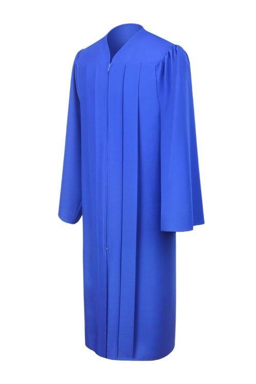 Toga azul francia mate de graduación de universidad