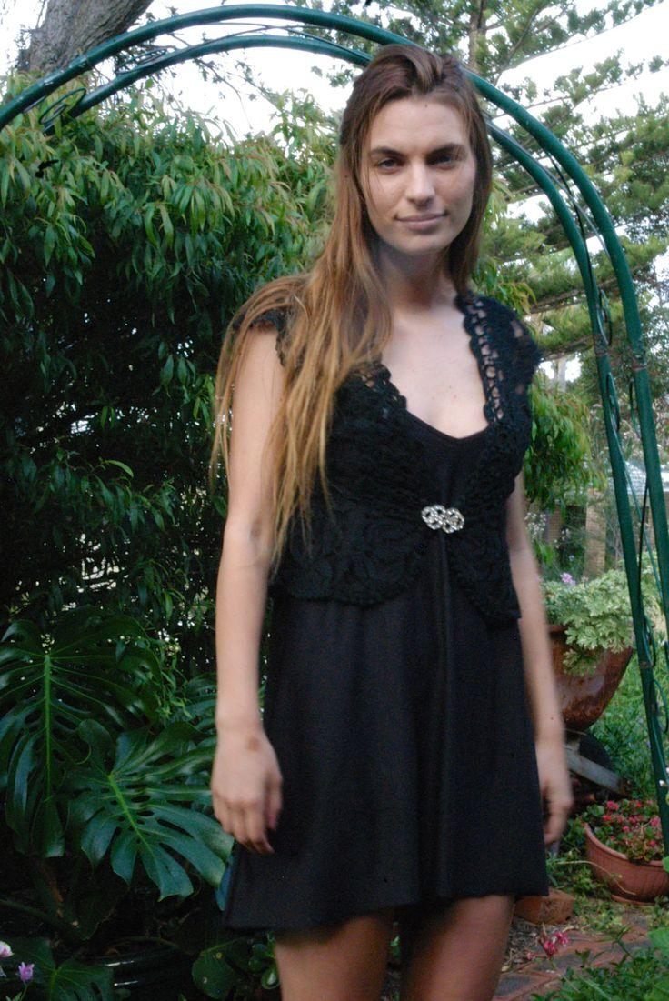 Black Lace Vest/Bolero with Diamante Clasp - Vintage Item by TheBusyTipsyGipsy on Etsy