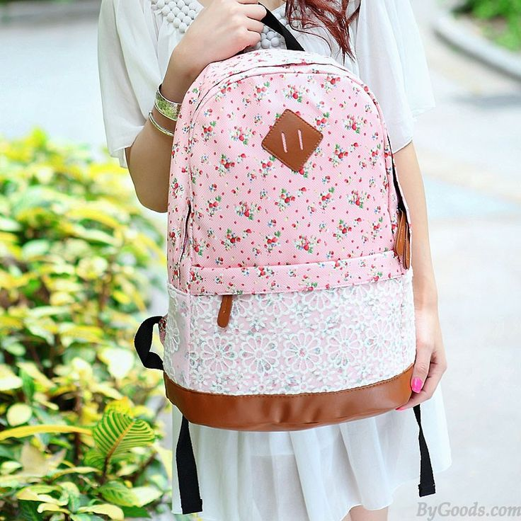 Fashion Pink Floral Print Lace Backpack only $25 in ByGoods.com