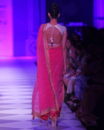 French Fuchsia Embroidered Leheriya Sari