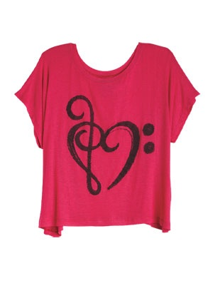 Music-note Heart tee from Delia's