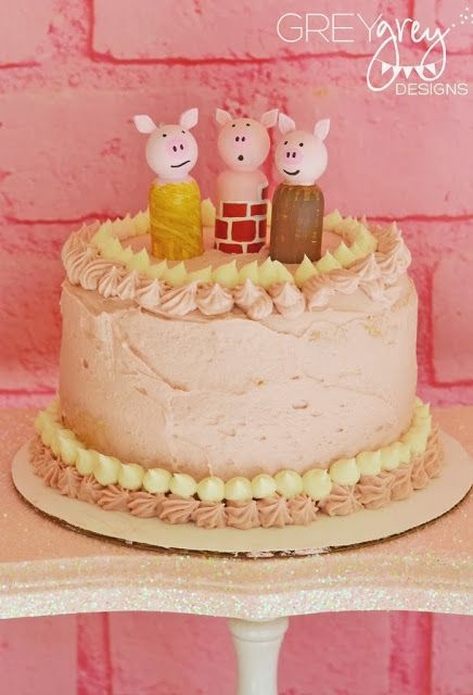 GreyGrey Designs--Three Little Piggy Party. Toppers by @Craft That Party - Jenny Dixon
