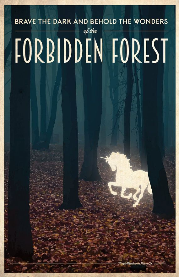 FORBIDDEN FOREST Harry Potter Travel Poster Vintage by MMPaperCo