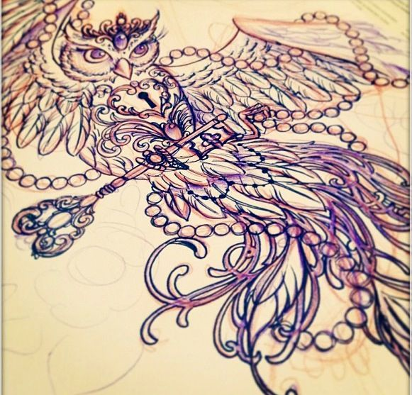 Wantttt so bad, except not an owl! Love the flow of the feathers and overall style for my thigh tat