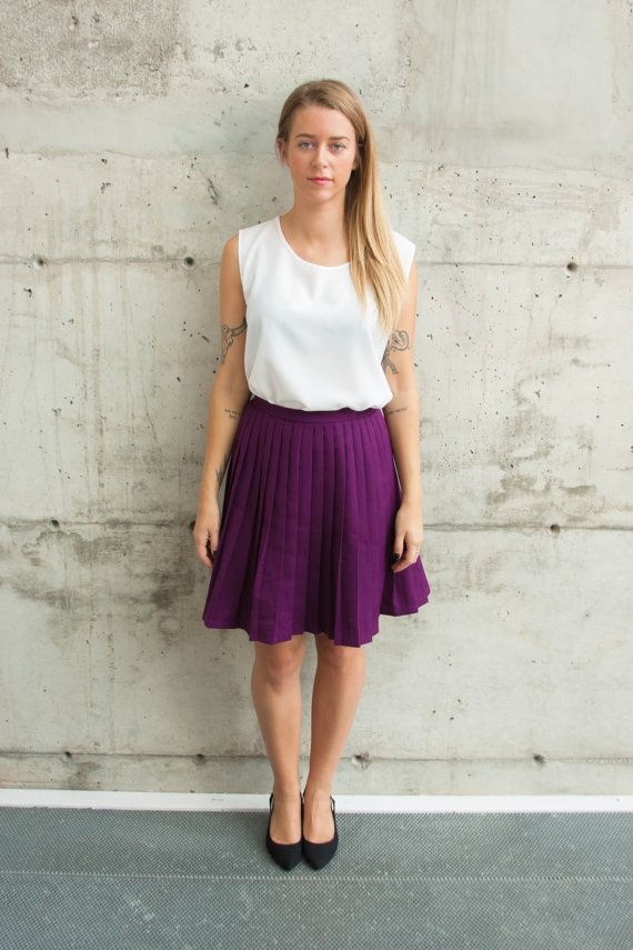 Accordion Short Skirt / High Waisted Purple Skirt by LesOubliettes, $23.00