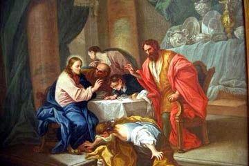 Martha enjuga los pies de Jesús con sus lagrimas