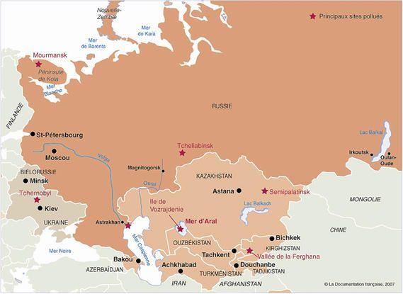 Carte des principaux sites pollués en Russie et en Asie centrale