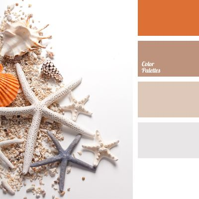 In this delicate color palette you can see the color of sea sand combined with orange. This combination of gentle pastel shades can be successfully used in interior decoration of bedrooms and lounges. In clothing, this color composition is good for light summer dresses.