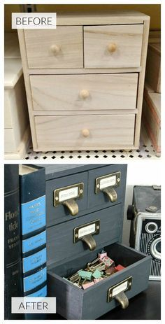 Industrial office storage from an inexpensive, unfinished wood box. via Little House of Four