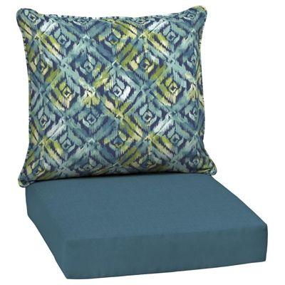 Garden Treasures Blue Geometric 2-Piece Reversible Deep-Seating Cushion Set
