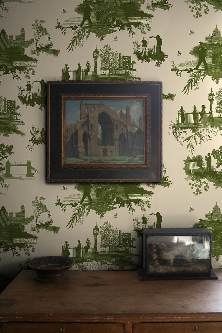 . Green Pastel Figurative Toile Wallpaper Toile