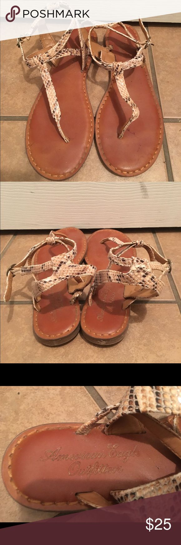 ⚡️SALE⚡️American Eagle Sandals Snakeskin, ankle strap American Eagle Outfitters Shoes Sandals