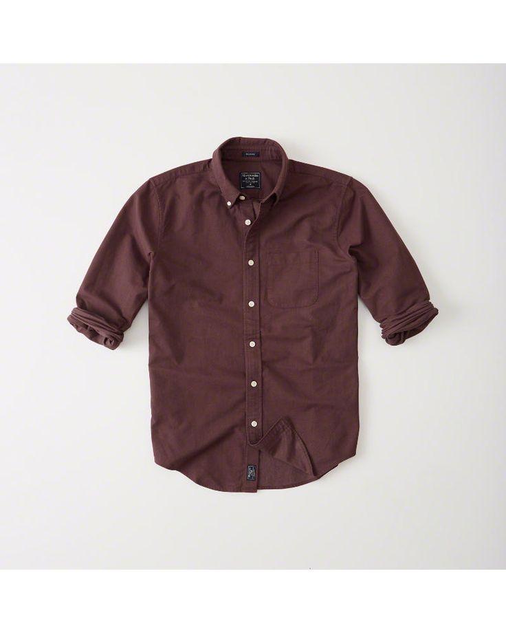 A&F Men's Oxford Shirt in Burgundy - Size XXL