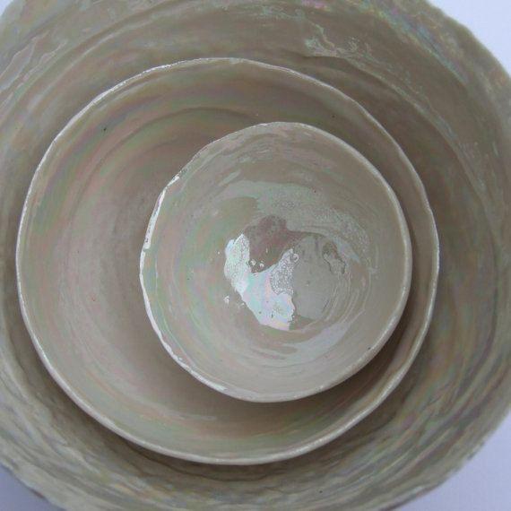 Bols en céramique de nidification, 30 cadeau anniversaire de mariage, mère de perle bol, Home decoration - cadeau anniversaire poterie