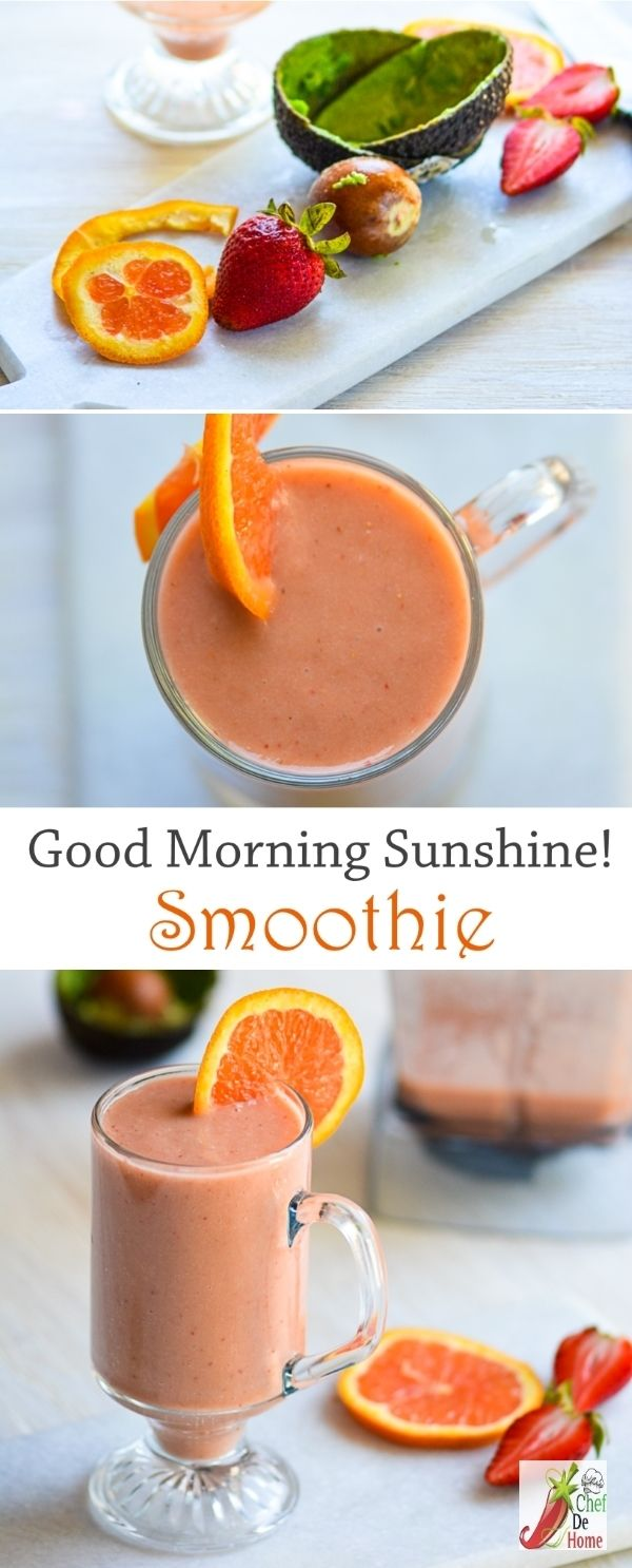 Breakfast Smoothie with Avocado Orange and Strawberrie | Chefdehome.com(Paleo Breakfast Smoothie)