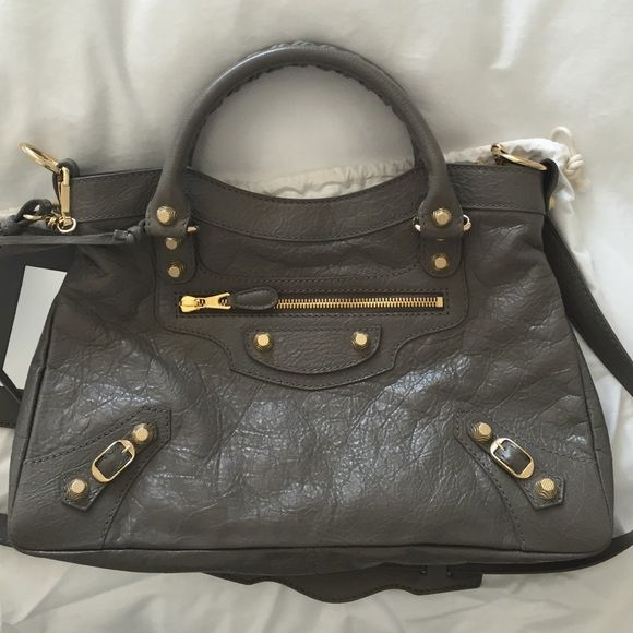 Balenciaga Town Bag NEW! Never used, gray with gold details Balenciaga Bags Satchels