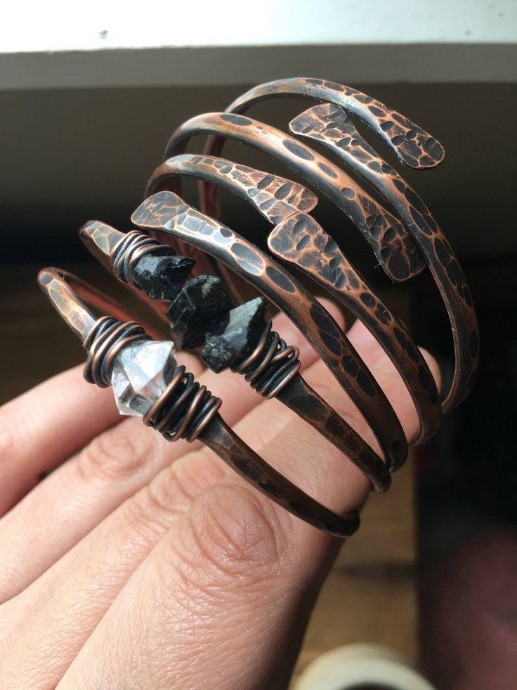 Bangle Bracelets Copper Bangles Raw Gemstone Bracelets Healing Crystal Jewelry Daniellerosebean Copper Bracelets Black Friday Cyber Monday by daniellerosebean on Etsy https://www.etsy.com/listing/198411015/bangle-bracelets-copper-bangles-raw