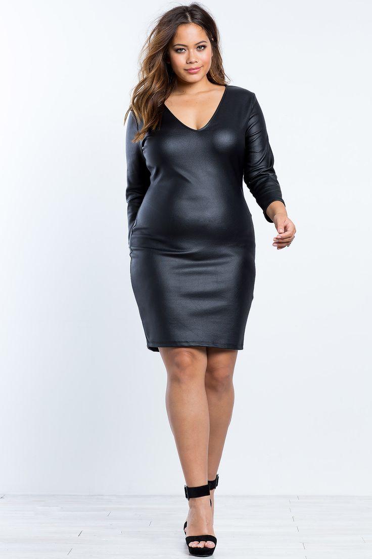 Plus Size Bodycon Dress | Plus Size Liquid Leatherette Bodycon Dress | A'GACI