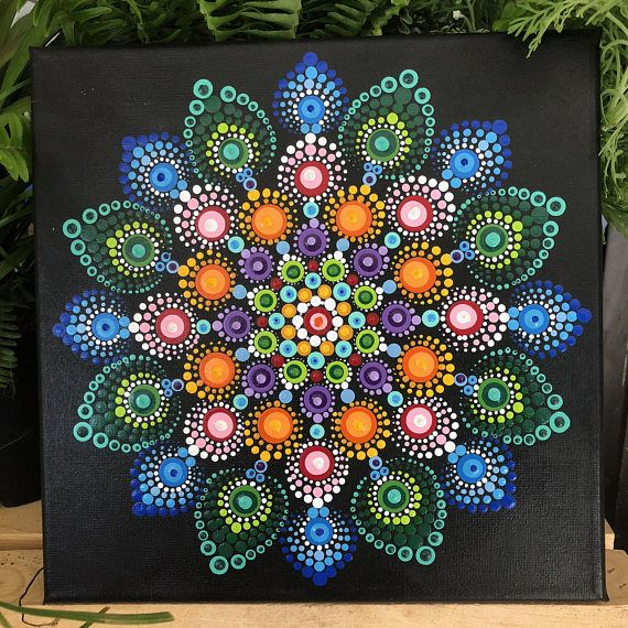 Hand painted Dot Mandala on stretched canvas. 10x10 Black background. Painted with acrylic paints.