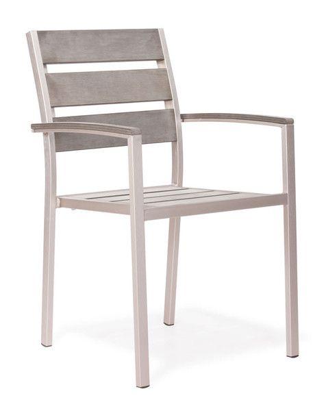 Aluminum/teak arm chair