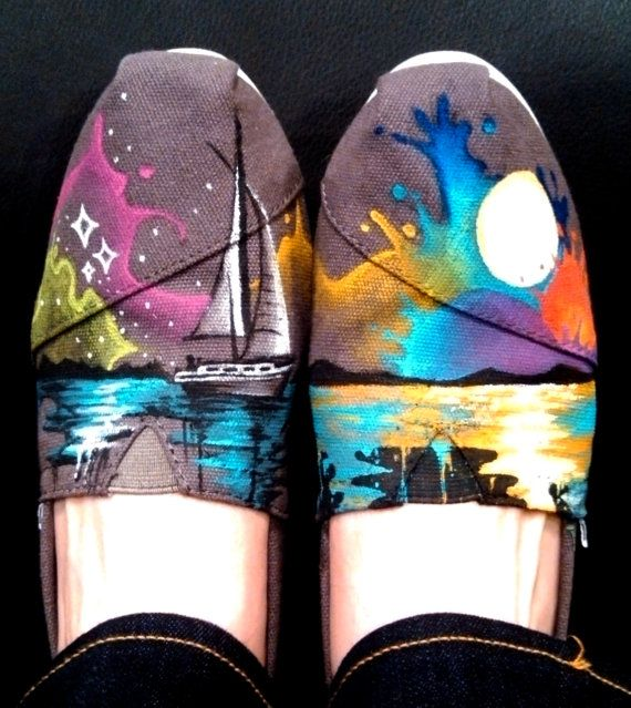 Nautical Themed customizable hand-painted TOMS on Etsy, $129.00